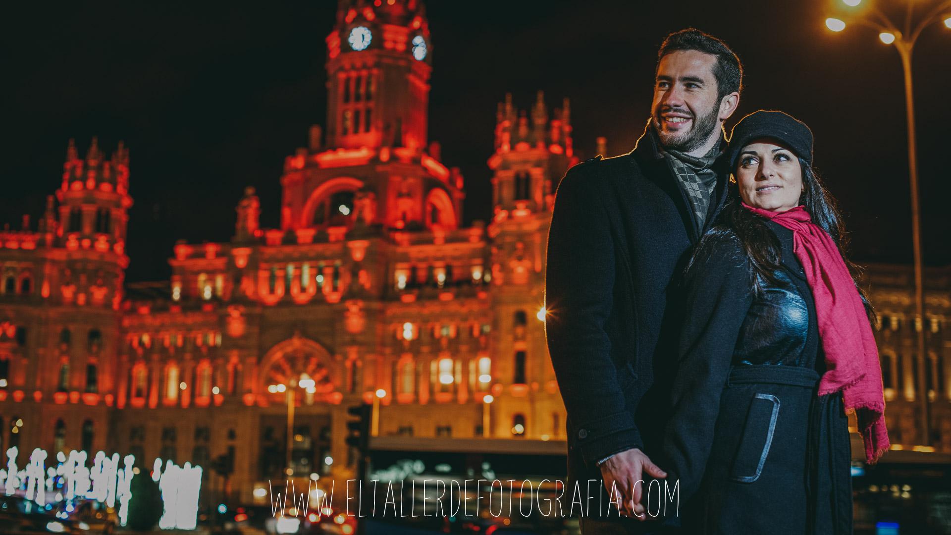 Preboda en el Barrio de Salamanca por la noche y con luces de navidad